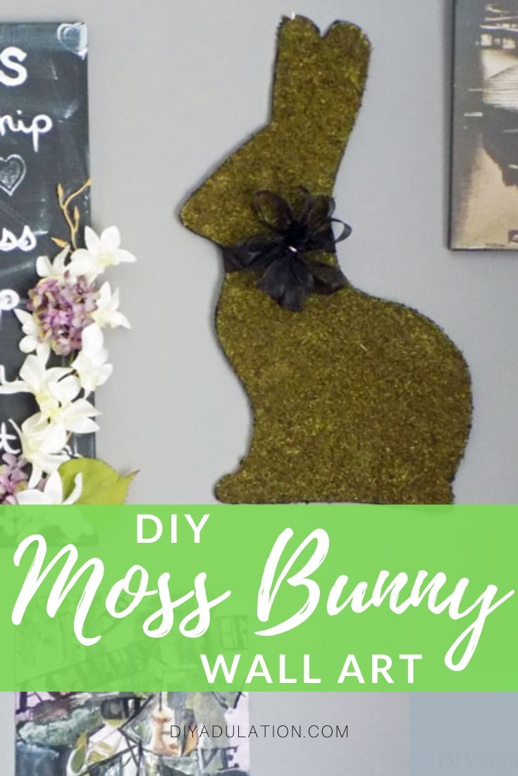 Close Up of Moss Bunny on Gallery Wall with text overlay - DIY Moss Bunny Wall Art - DIY Adulation