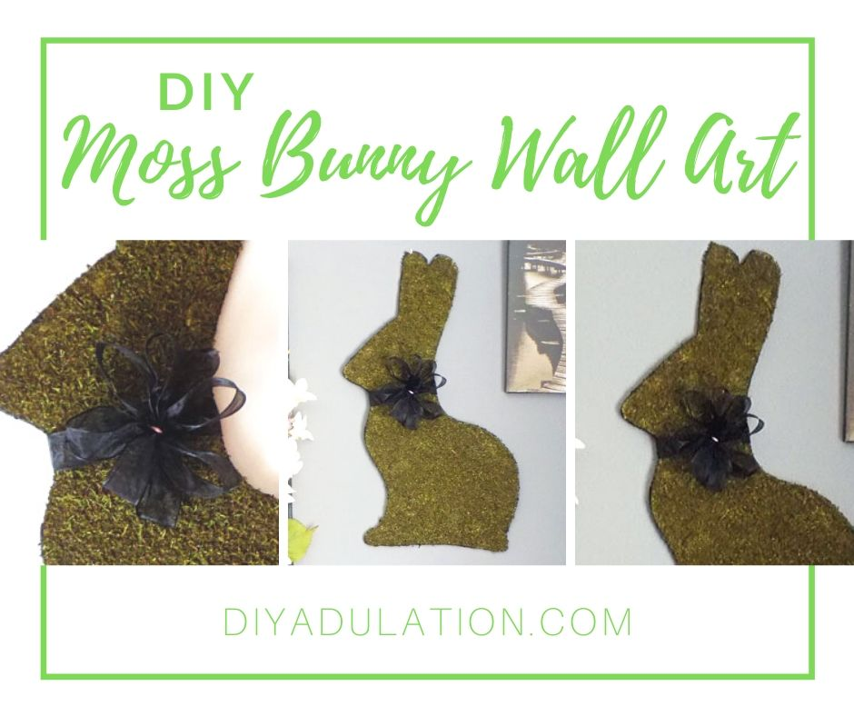 Collage of Photos of Moss Bunny on Gallery Wall with text overlay - DIY Moss Bunny Wall Art - DIY Adulation