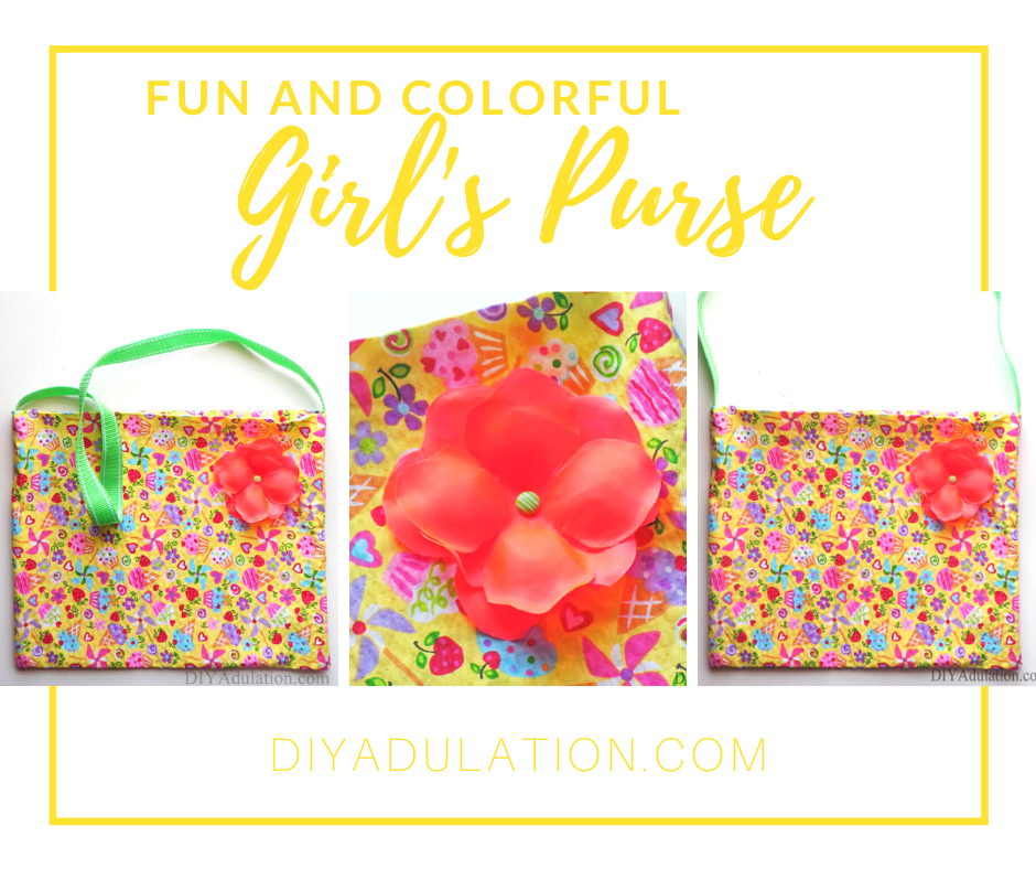 Collage of Photos of Colorful Purse with text overlay - Fun and Colorful Girl's Purse