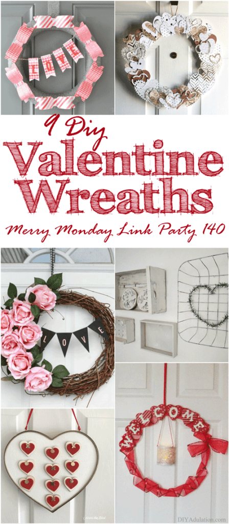 Dress up your door with a fun wreath! Whether your style is pink and girly or neutral and clean, here are 9 DIY Valentine Wreaths to inspire you!
