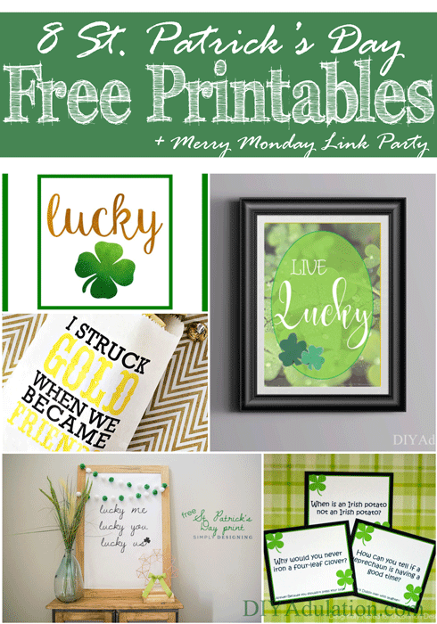 8 Saint Patricks Day Free Printables + Merry Monday Link Party 144