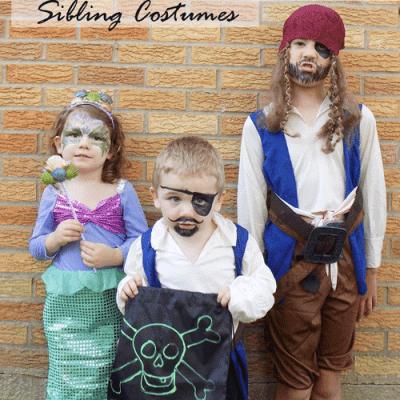 Pirates and Mermaid Sibling Costumes