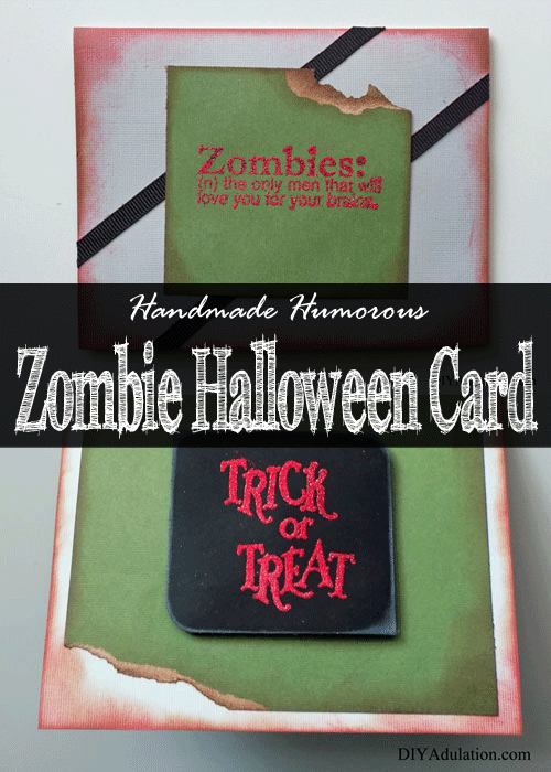 Looking for a fun Halloween greeting card to send to friends and family this year? Try this handmade humorous zombie Halloween card!