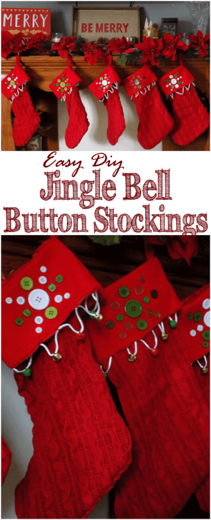 A key component of a gorgeous Christmas mantle is matching stockings! Find out how to make your own DIY jingle bell button stockings with this tutorial! #ad
