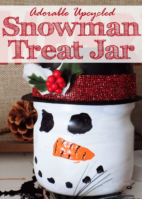 Adorable Upcycled Snowman Treat Jar