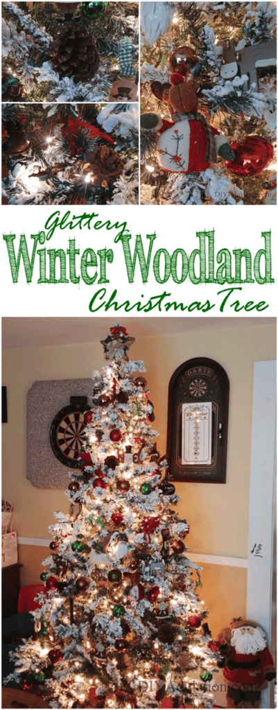This mix of sparkle and rustic on this glittery winter woodland tree add a glamorous yet comforting aesthetic for the holidays.