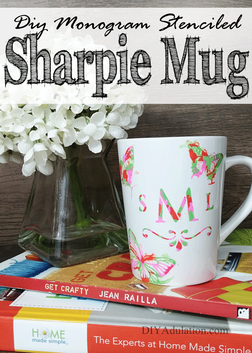 DIY Monogram Stenciled Sharpie Mug