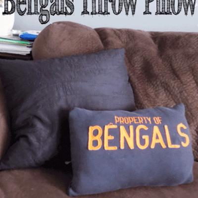 DIY Upcycled Bengals Throw Pillow
