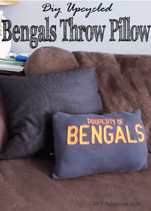 DIY Upcycled Bengals Throw Pillow