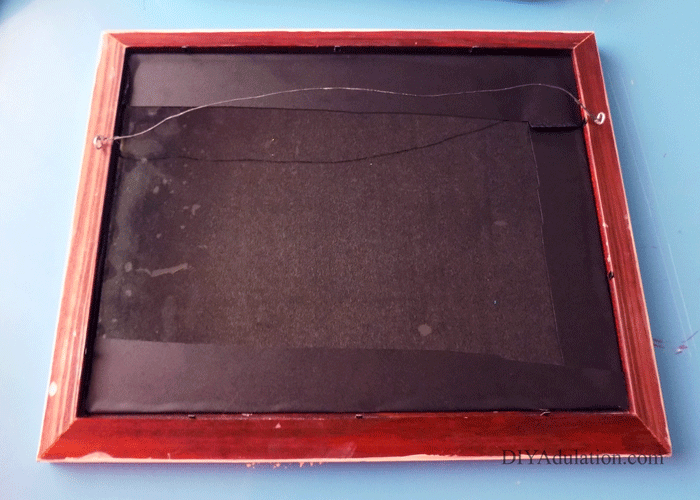 Back of Chalkboard Insert inside of frame
