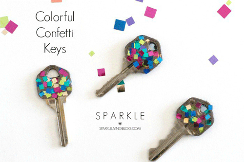 3 Metal Keys with Confetti Covered Tops