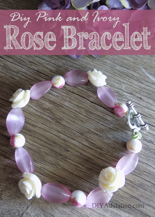 DIY Pink and Ivory Rose Bracelet with Heart Toggle