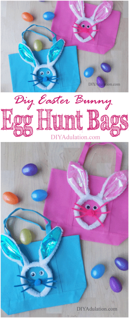 Blue and Pink Easter Egg Hunt Bags Collage with text overlay: DIY Easter Bunny Egg Hunt Bags