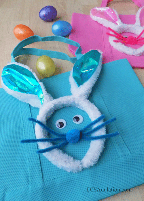 Blue and Pink Easter Egg Hunt Bags with Plastic Eggs