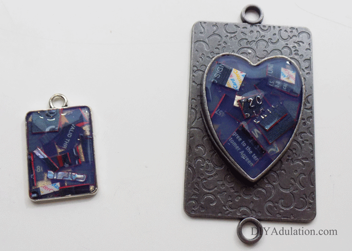 Keychains covered in jewelry pendant gel side-by-side