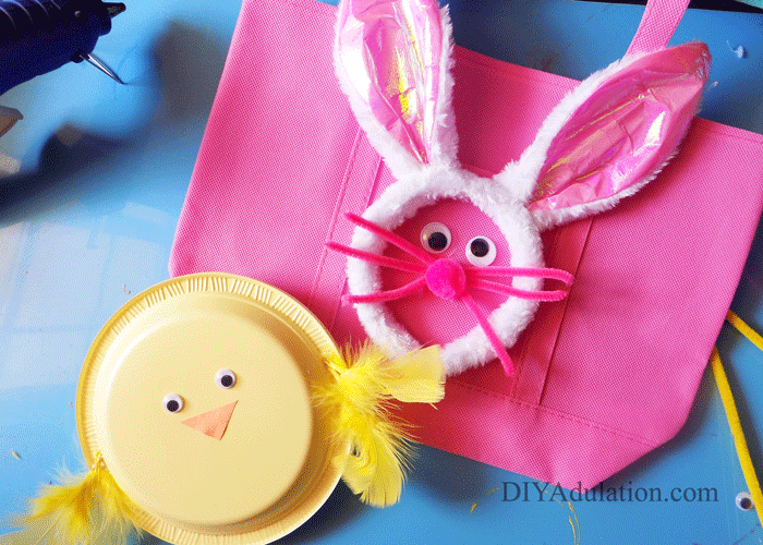 Pink Easter Bunny Egg Hunt Bag with Yellow Chick