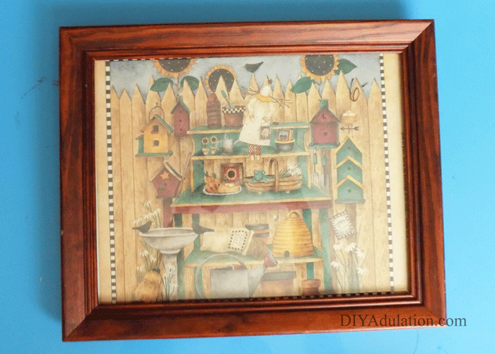 Wooden Thrift Store Frame with garden scene inside