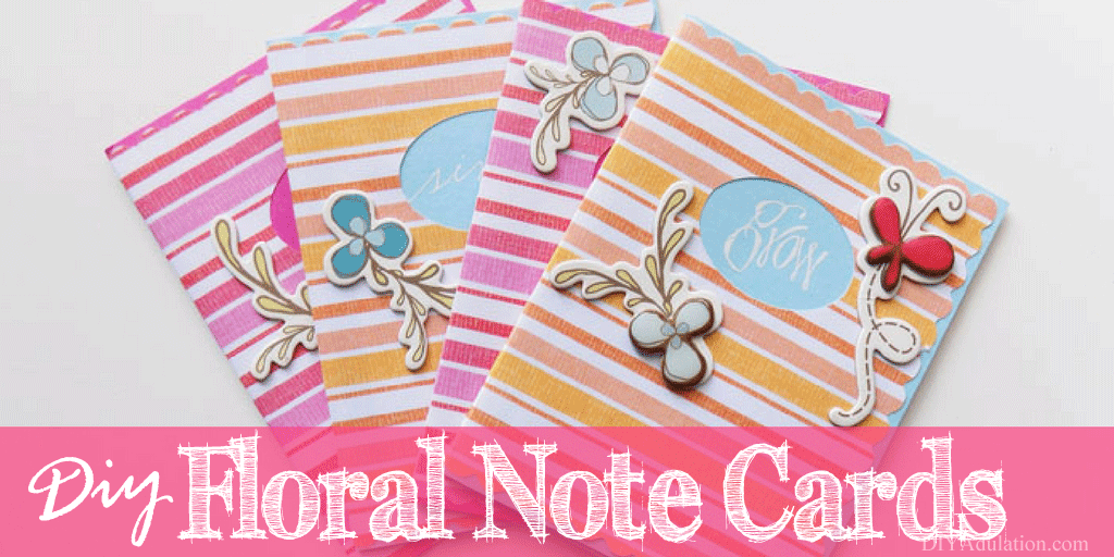 Set of Floral Note Cards with Text Overlay: DIY Floral Note Cards