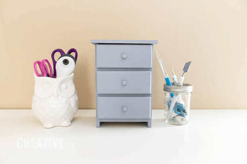 Mini Dresser Organizer between office supply organizers on a desk