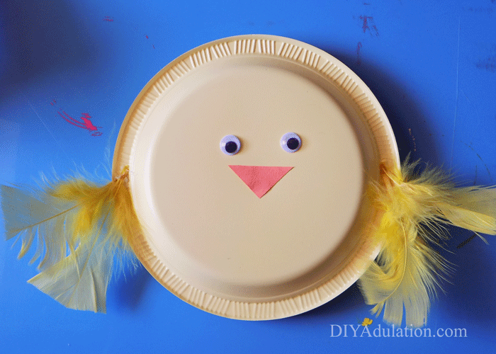 yellow plastic plate baby chick