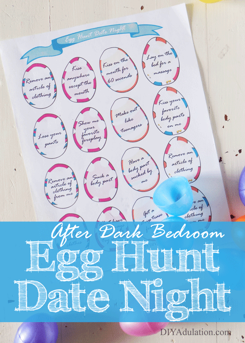 Date Night Eggs Printable with text overlay: After Dark Egg Hunt Date Night