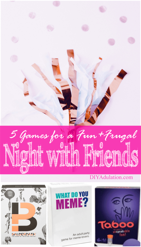 Collage of Games with text overlay: 5 Games for a Fun + Frugal Night with Friends