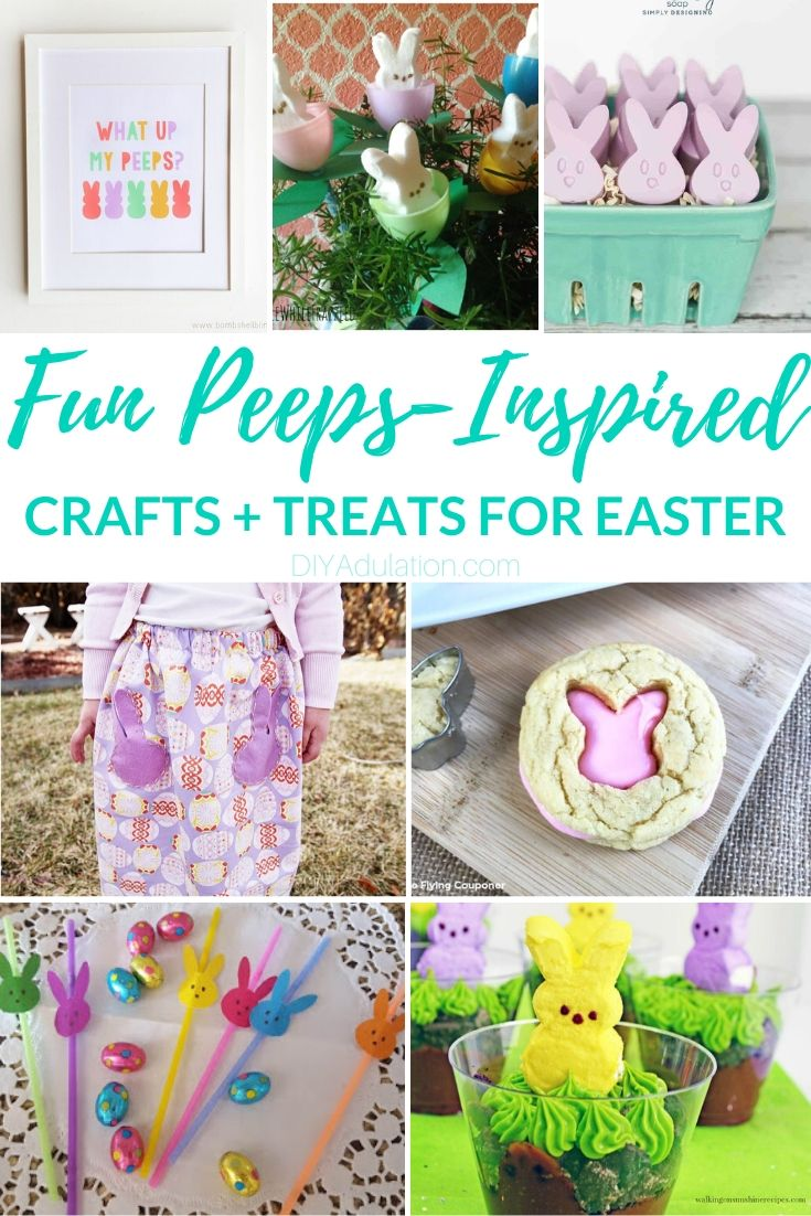 Collage of Peeps inspired crafts and treats with text overlay: Fun Peeps Inspired Crafts + Treats