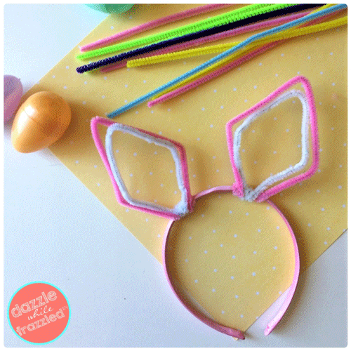 Bunny Ears Headband with pipe cleaners and plastic eggs