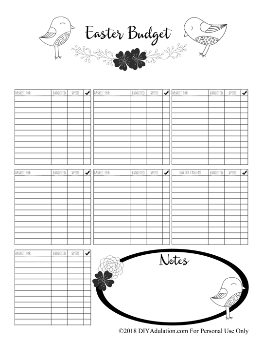 Sample Photo of Easter Budget Printable
