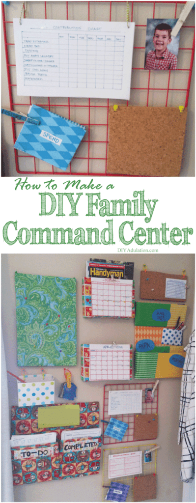 Collage of Family Command Center photos with text overlay: How to Make a DIY Family Command Center