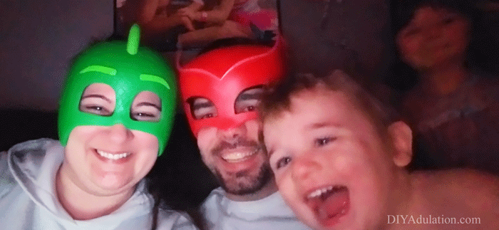 Family Wearing Masks and Being Silly