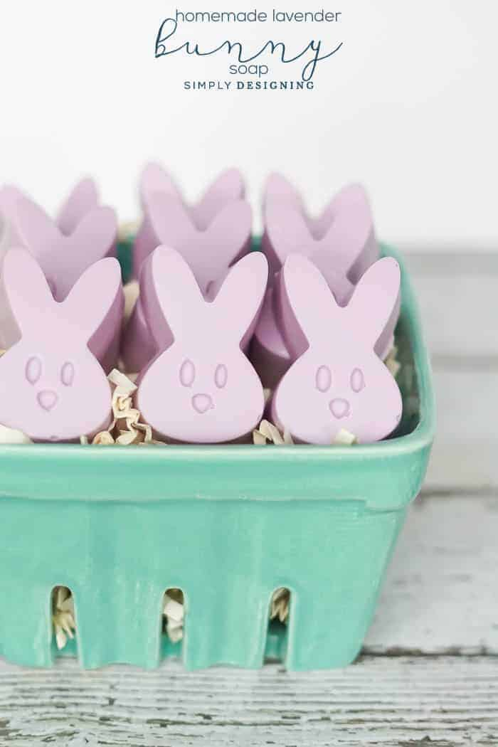 Lavender bunny heads soap in ceramic container