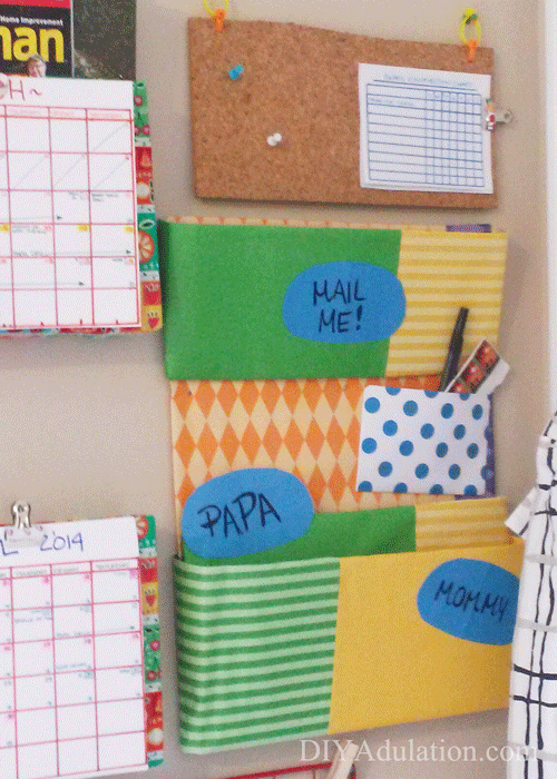 Colorful mail organizer on the wall