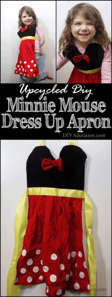 Collage of Minnie Mouse Apron photos with text overlay: Upcycled DIY Minnie Mouse Dress Up Apron