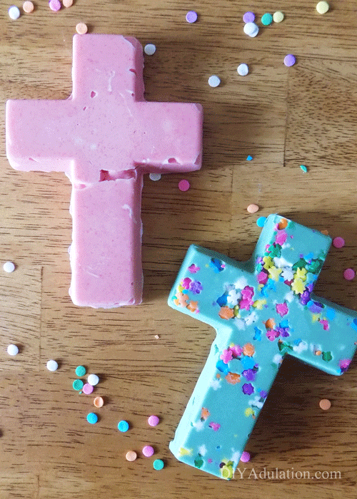 Pink and Green chocolate crosses with sprinkles