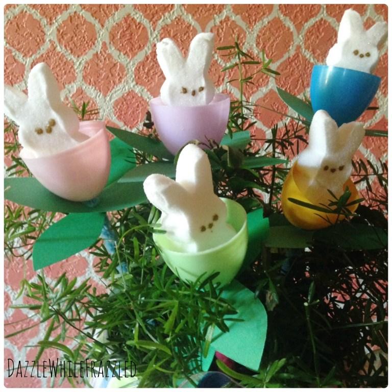 Easter vignette with floral Peeps centerpiece arrangement