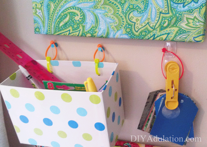 Office Supplies Organizer hanging on the wall