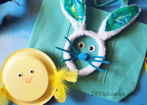 Teal Easter Bunny Egg Hunt bag with Yellow Chick