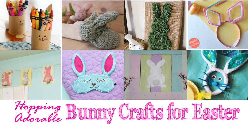 Collage of Bunny Crafts with text below: Hopping Adorable Bunny Crafts for Easter