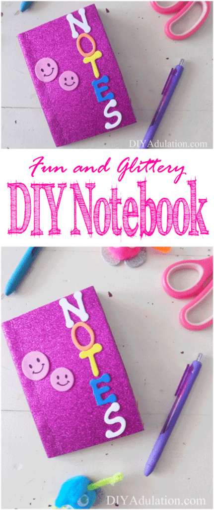 This fun and glittery DIY notebook lets kids get creative and, let's be fair, can you ever really have too many fun notebooks? Makes yours now!