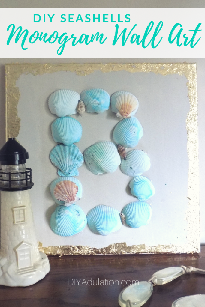 DIY Seashells Monogram Wall Art | July Pinterest Challenge
