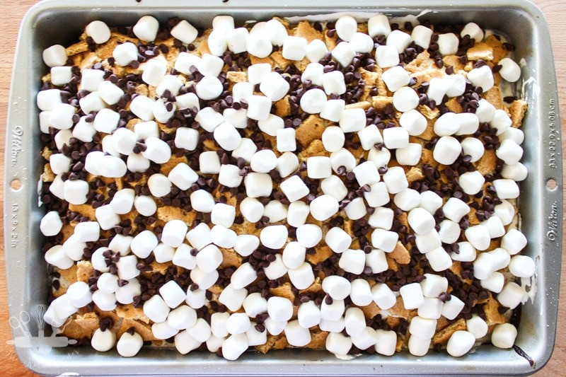Top of S'mores Poke Cake