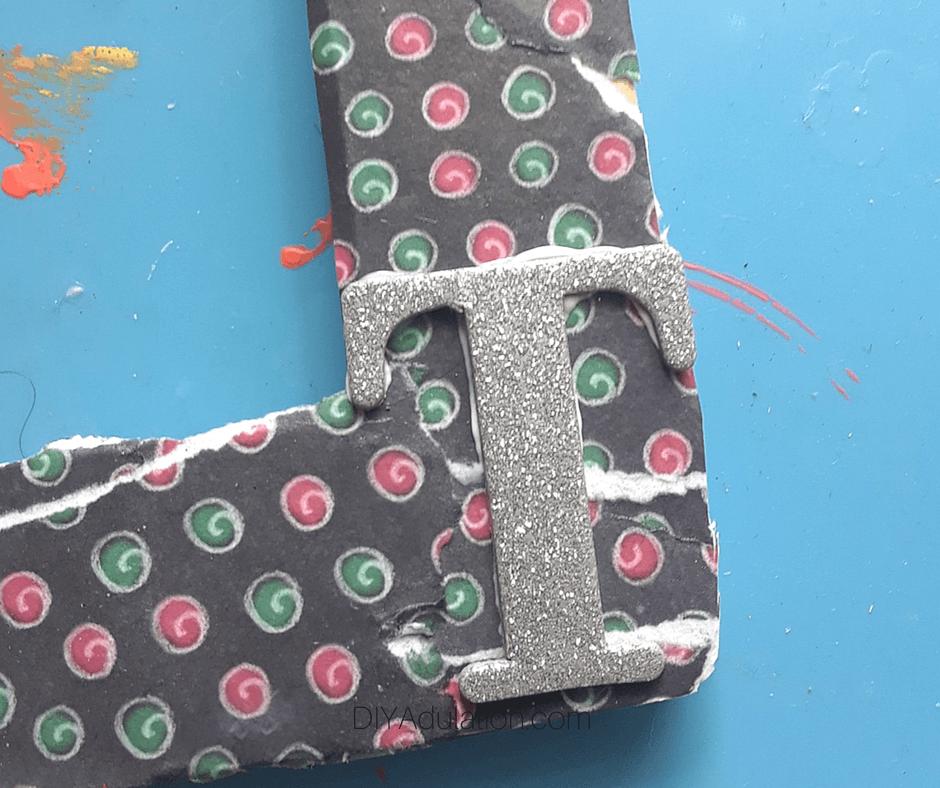 T Glitter Letter Glued on Frame