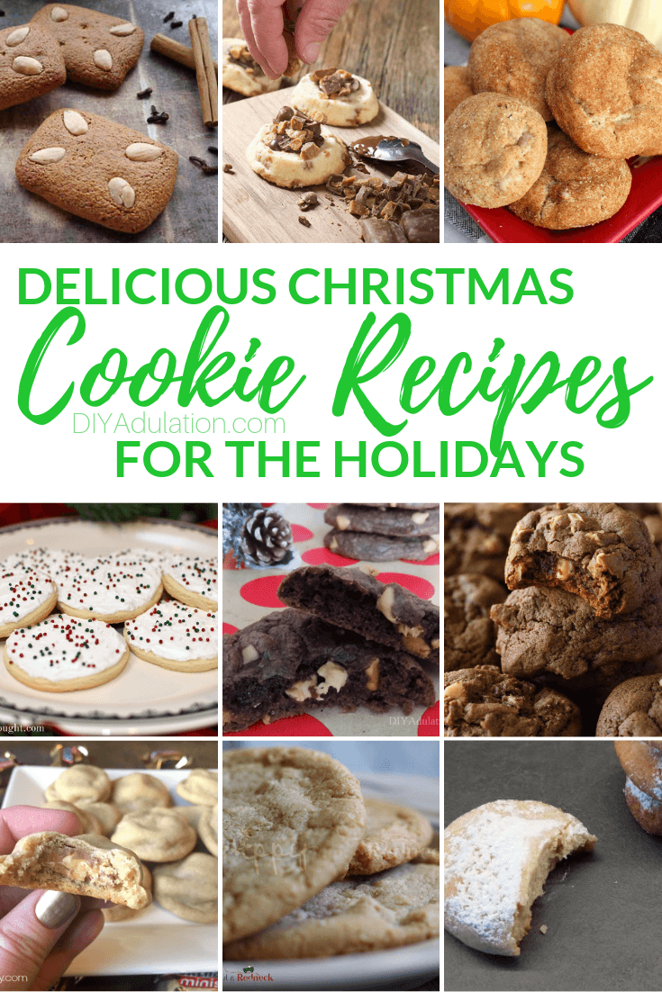 Collage of Cookie Photos with text overlay - Delicious Christmas Cookie Recipes for the Holidays