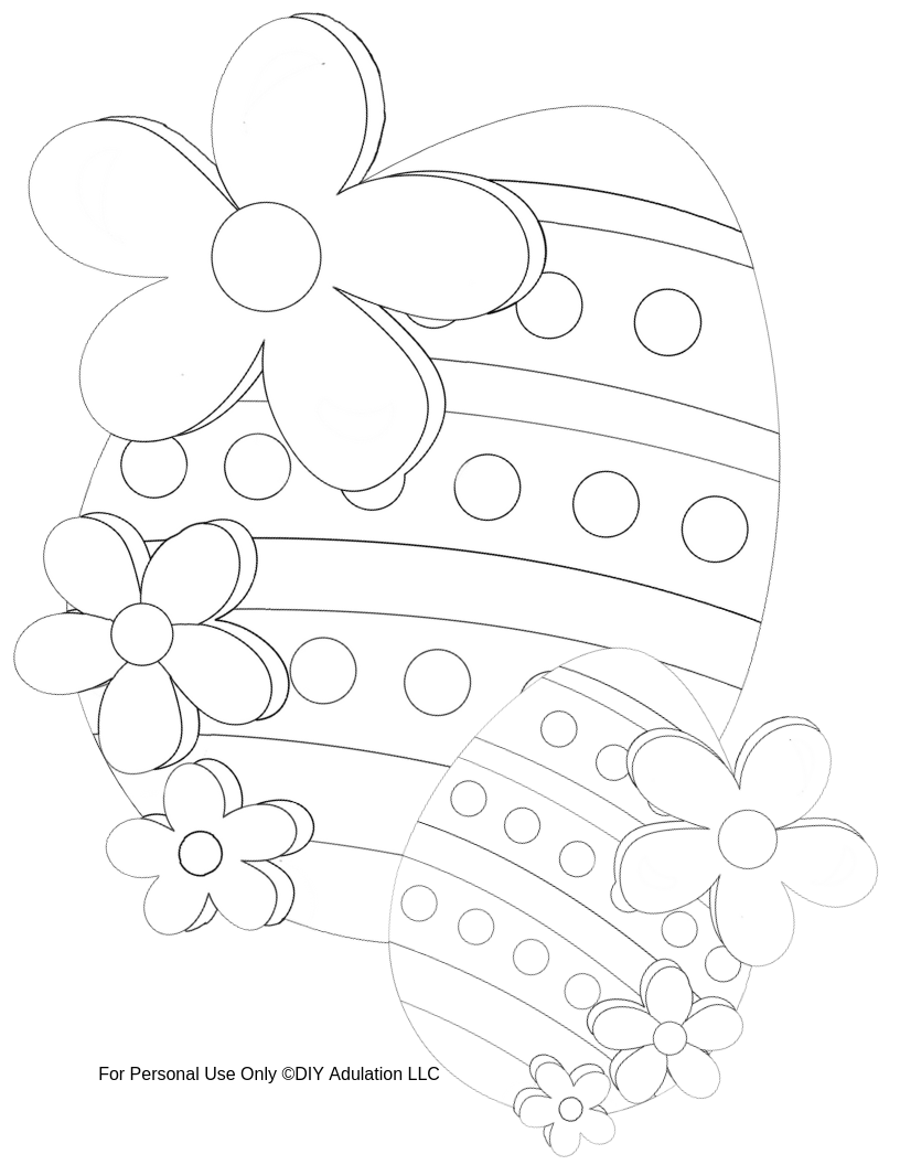 Easter Eggs and Flowers Coloring Sheet