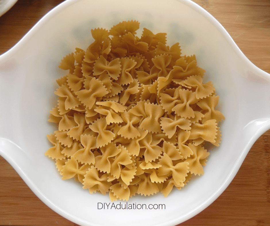 Bowl of Uncooked Bow Tie Pasta