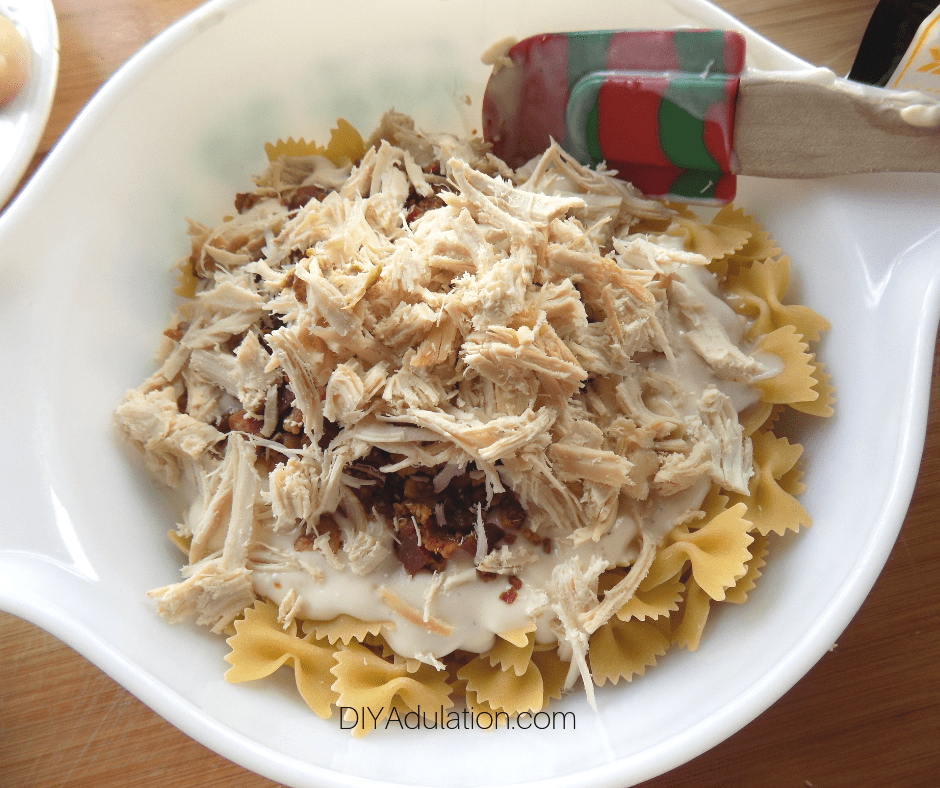 Chicken Bacon Alfredo Sauce and Pasta in Bowl