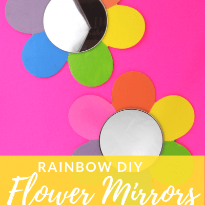 Rainbow DIY Flower Mirrors Wall Art