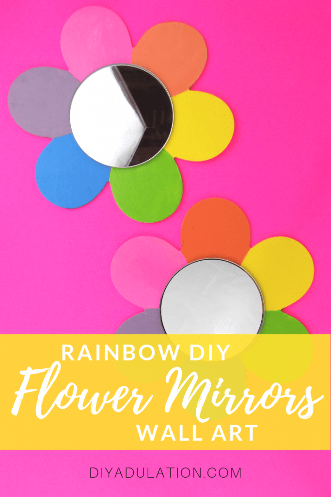Rainbow DIY Flower Mirrors Wall Art