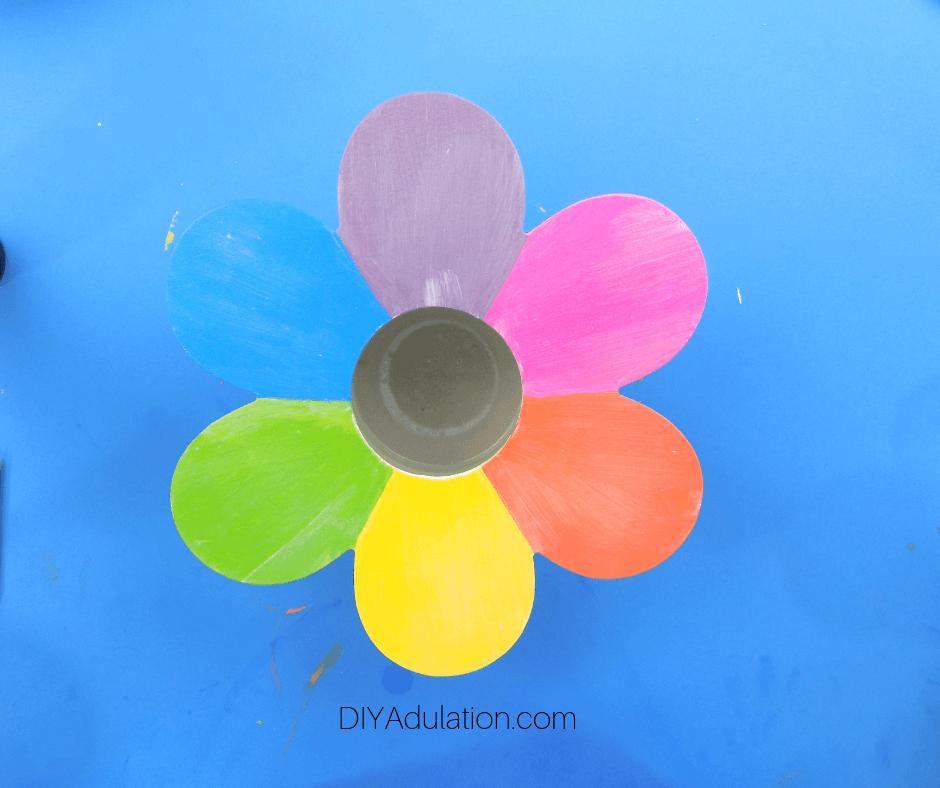 Rainbow Flower with Coat of Mod Podge